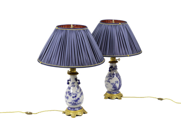 lamps blue white earthenware gilt bronze