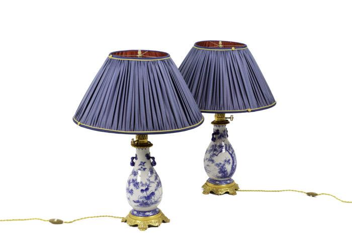 lampes faïence bleu blanc bronze doré
