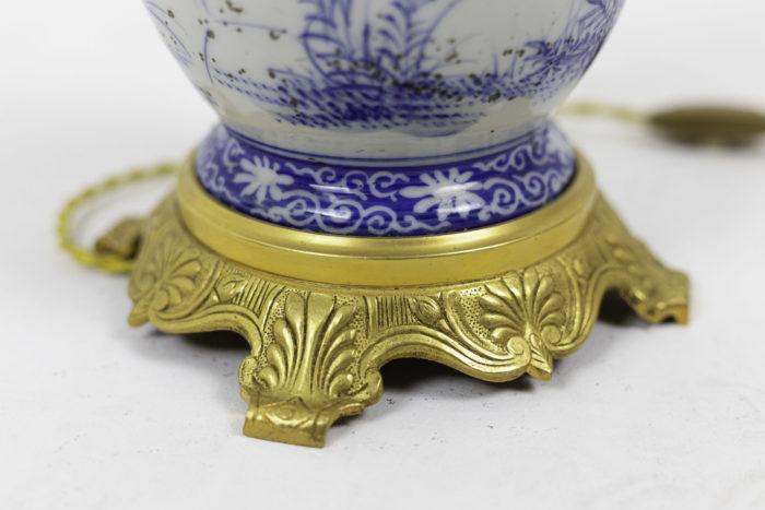 lampes faïence bleu blanc bronze doré base