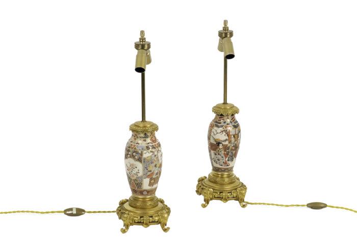 lampes faïence de satsuma bronze doré 2