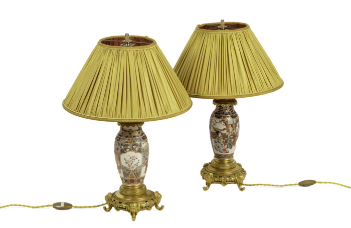 lamps satsuma earthenware gilt bronze