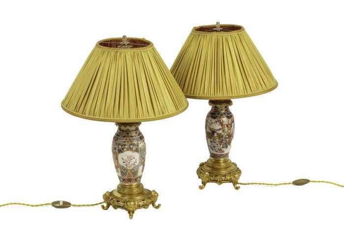 lampes faïence de satsuma bronze doré