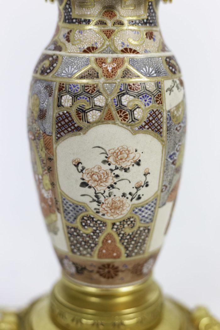 lampes faïence de satsuma cartouches fleurs (2)