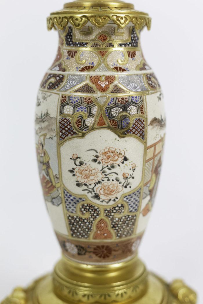 lampes faïence de satsuma cartouches fleurs