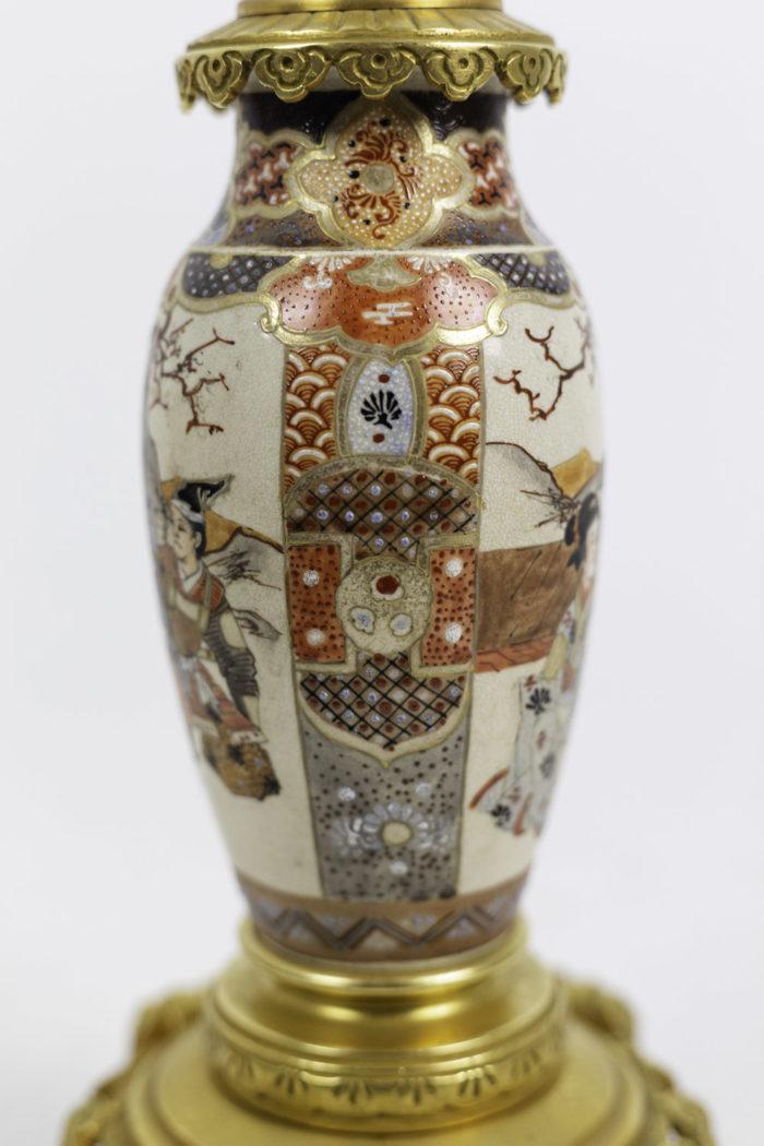 lampes faïence de satsuma motifs géométriques