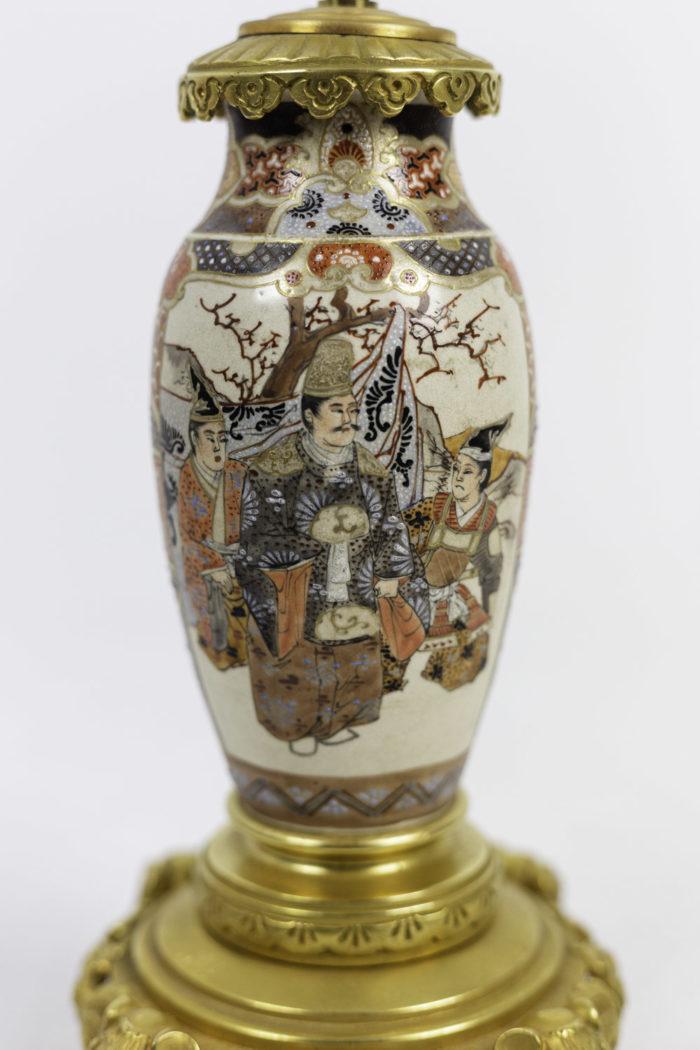 lampes faïence de satsuma scènes de palais