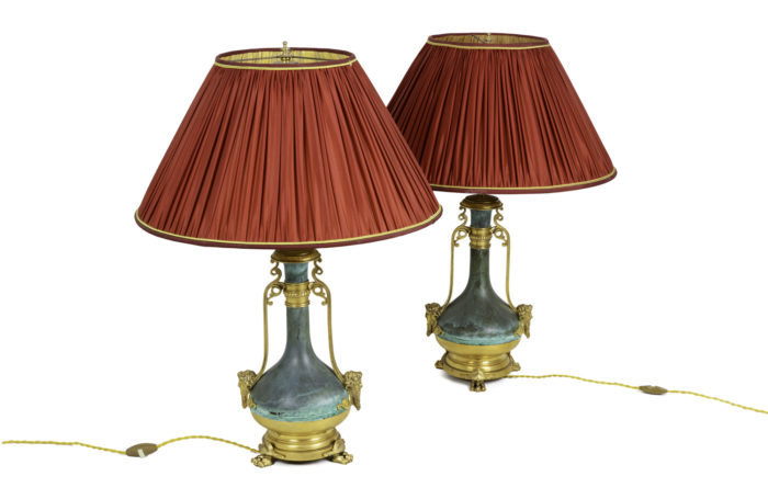 lamps green patinated gilt brass