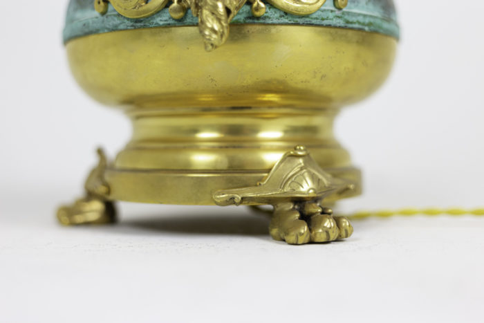 lamps green patinated gilt brass lion paws