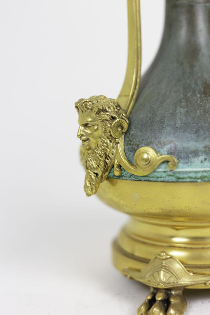 lamps green patinated gilt brass faun head