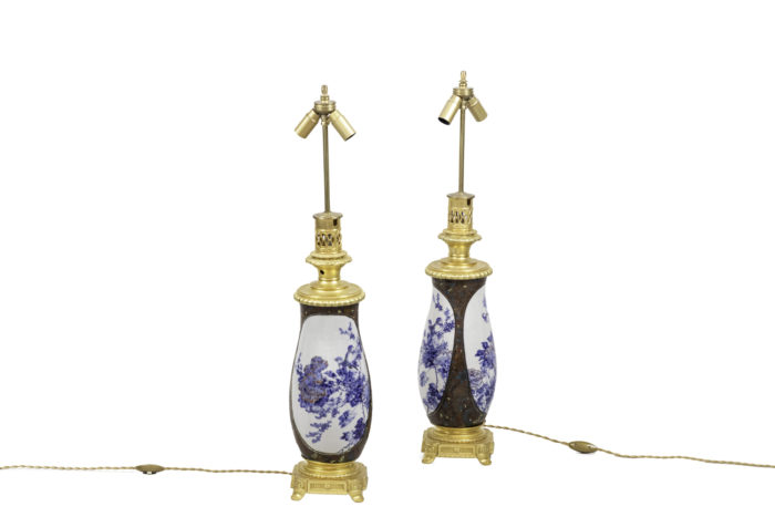 lamps japanese porcelaine gilt bronze