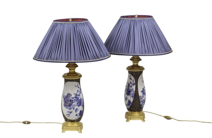 lampes porcelaine du japon bronze doré