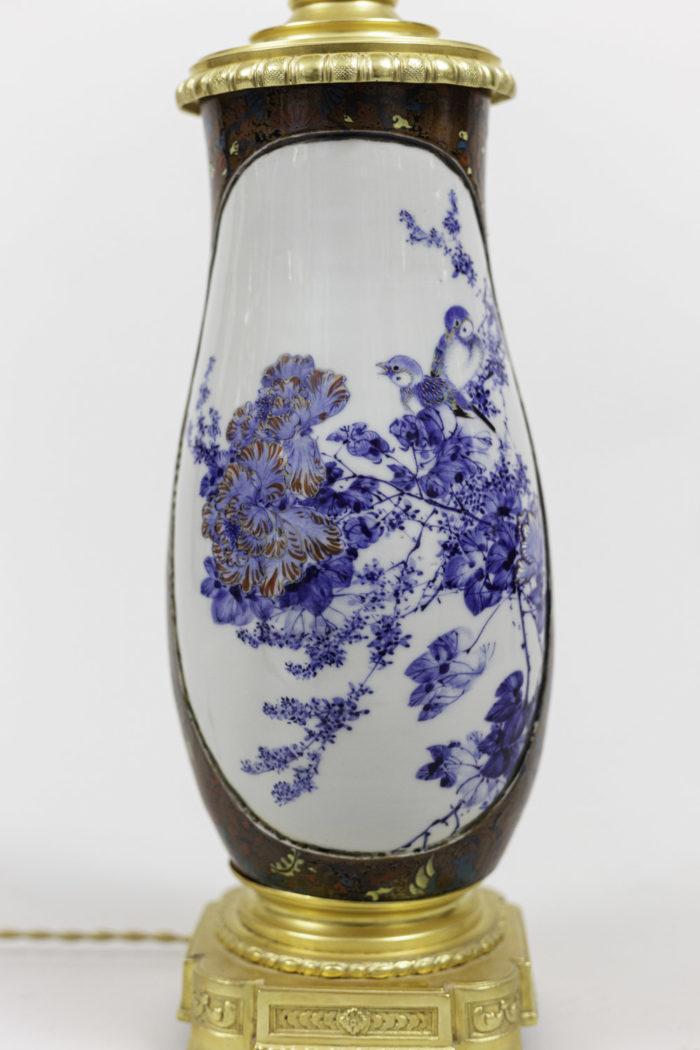 lamps japanese porcelaine gilt bronze blue white cartouche