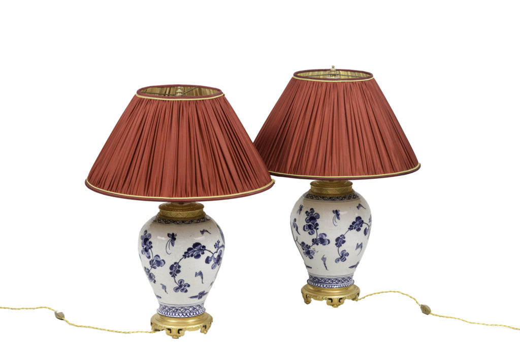 Pair of lamps in Japanese porcelain and gilt bronze, circa 1880