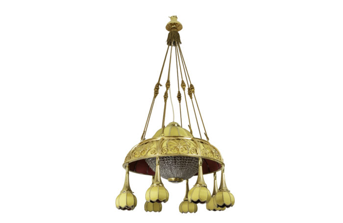 art nouveau chandelier yellow fabric gilt bronze