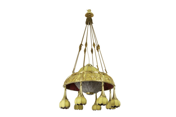 lustre art nouveau tissu jaune bronze doré