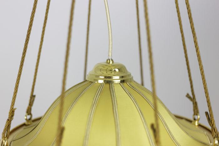 lustre art nouveau tissu jaune bronze doré haut