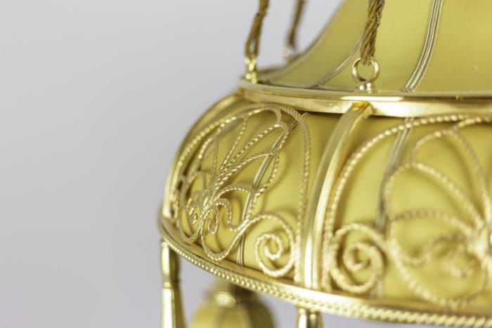 lustre art nouveau tissu jaune bronze doré palmettes