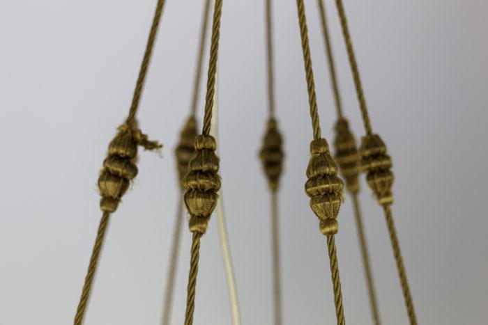 lustre art nouveau tissu jaune cordons