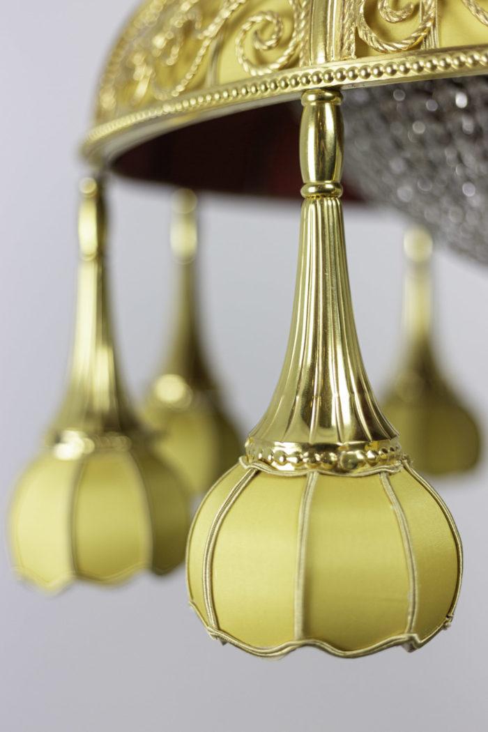 lustre art nouveau tissu jaune petits abat-jour