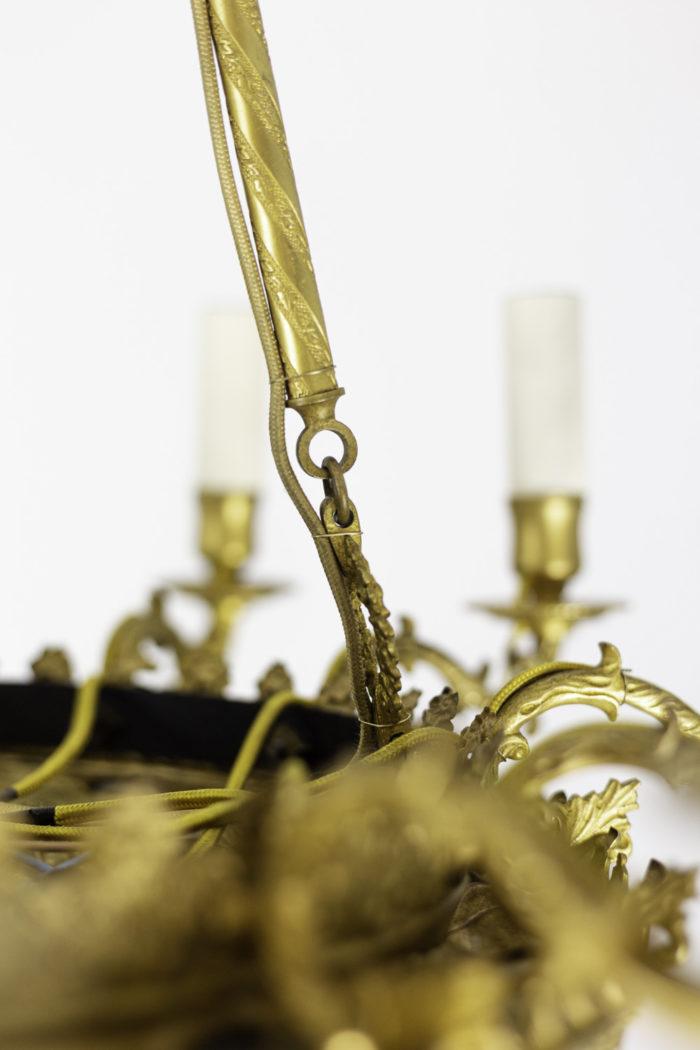 lustre style restauration bronze doré baguette