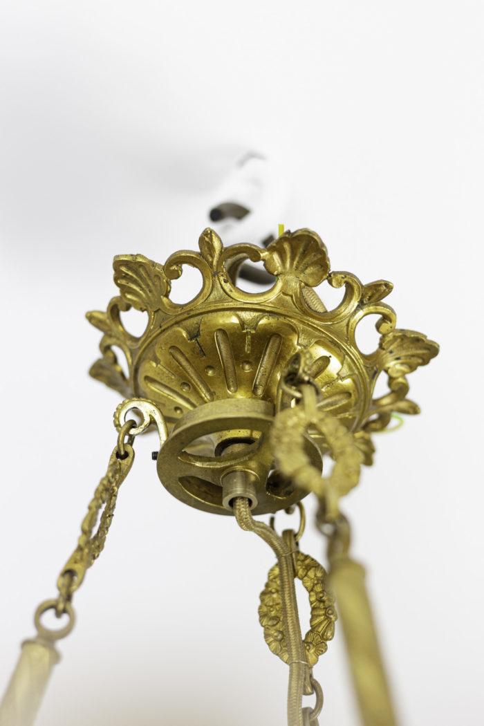 lustre style restauration bronze doré cache-bélière