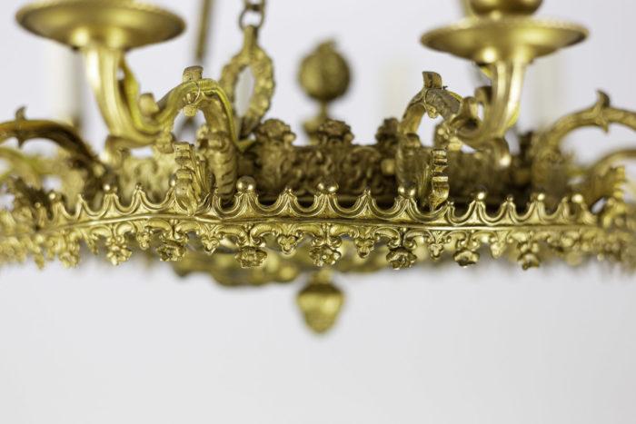 lustre style restauration bronze doré couronne