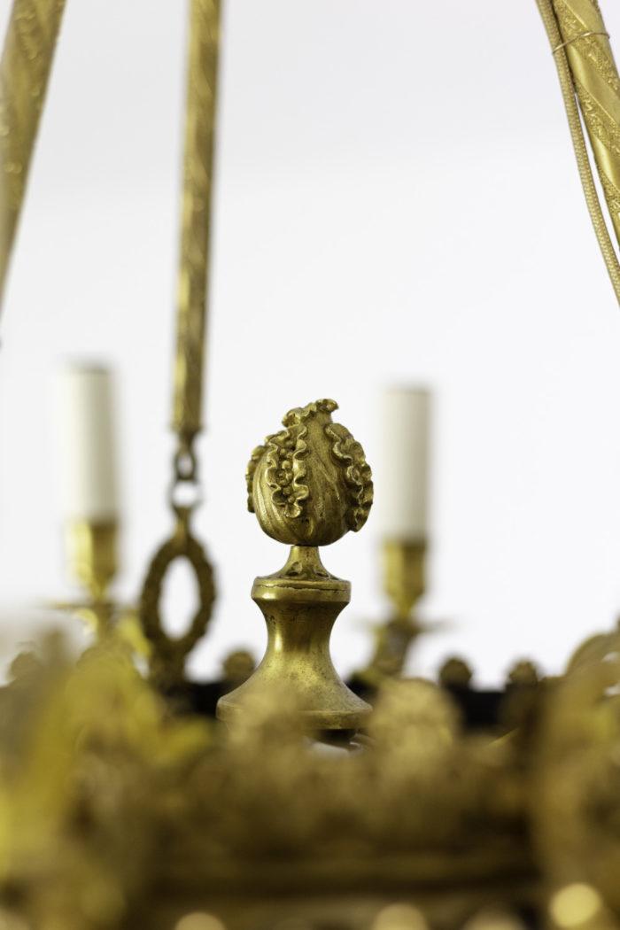 lustre style restauration bronze doré fruit