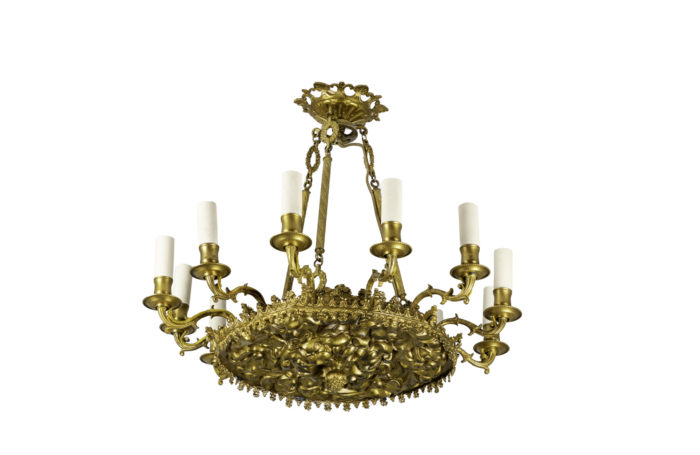 restauration style chandelier gilt bronze and metal