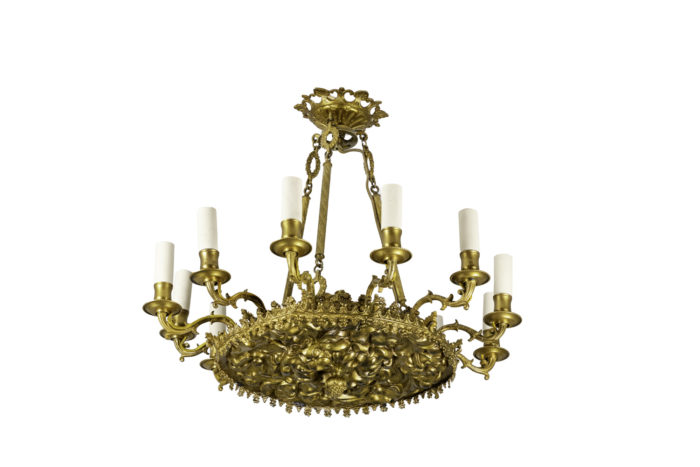lustre style restauration bronze et métal doré