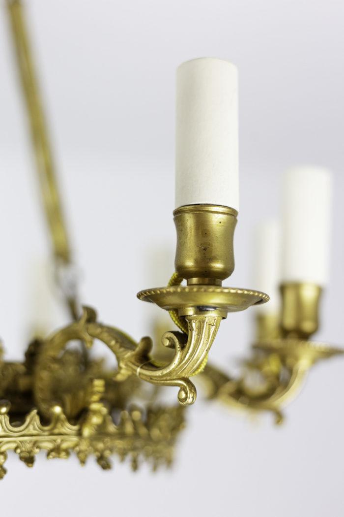 lustre style restauration bronze et métal doré feux