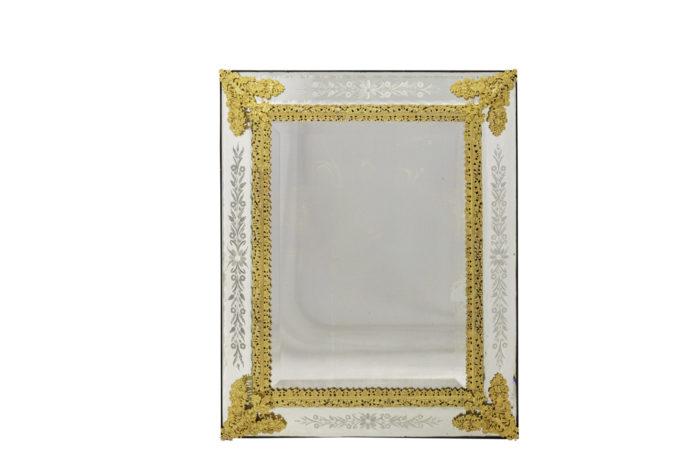 miroir gravé style louis xiv bronze doré