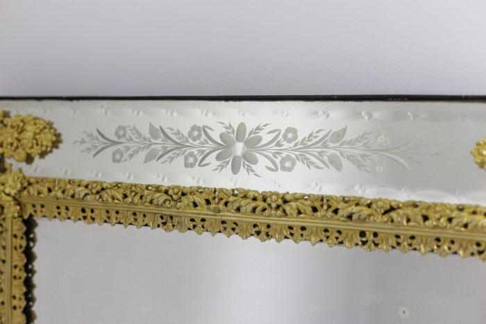 miroir gravé style louis xiv bronze doré fleurs