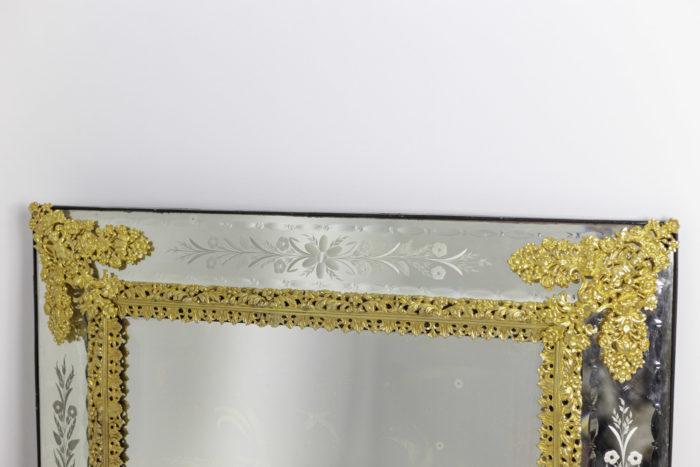 miroir gravé style louis xiv bronze doré top