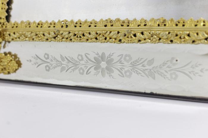 miroir gravé style louis xiv fleurs épis de blé