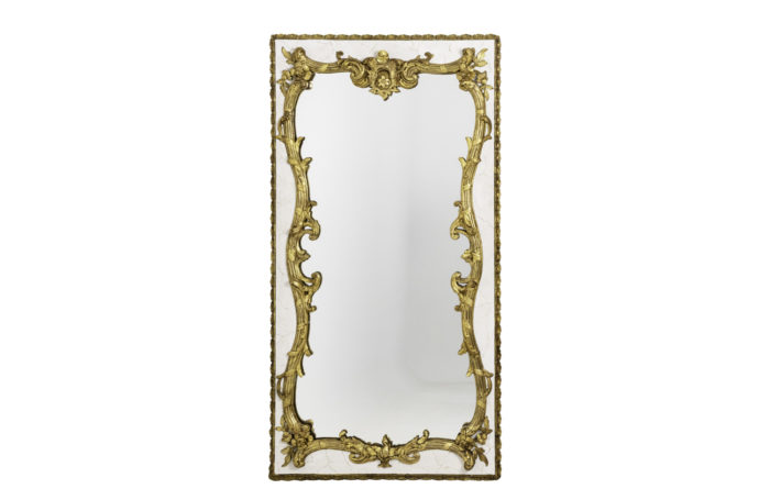 louis xv style mirror lacquered wood gilt stucco