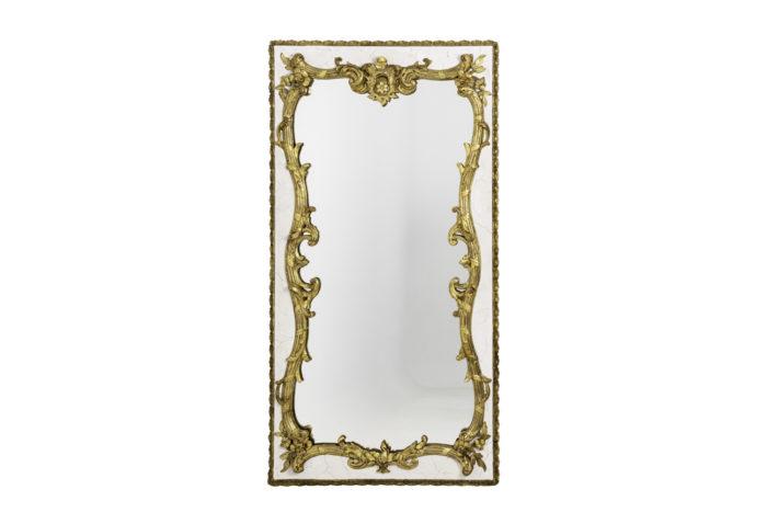 miroir style louis xv en bois laqué et stuc doré