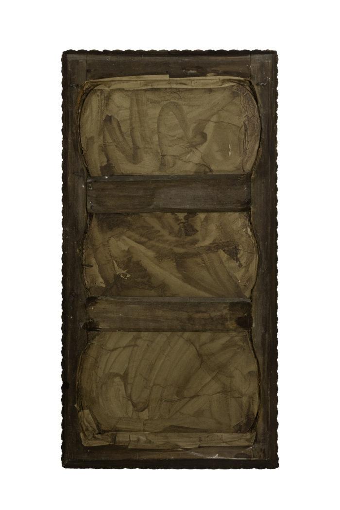 miroir style louis xv en bois laqué et stuc doré dos
