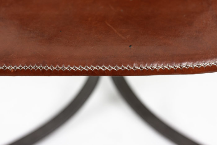 sol&luna chair red leather metal sewing