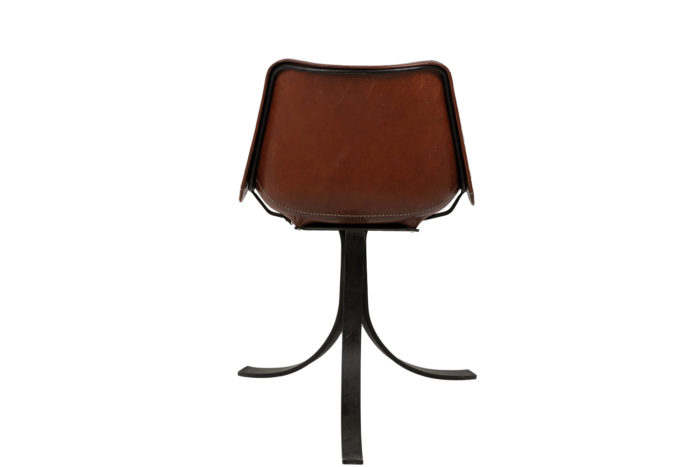 sol&luna chair red leather metal back