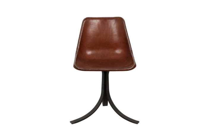sol&luna chair red leather metal front