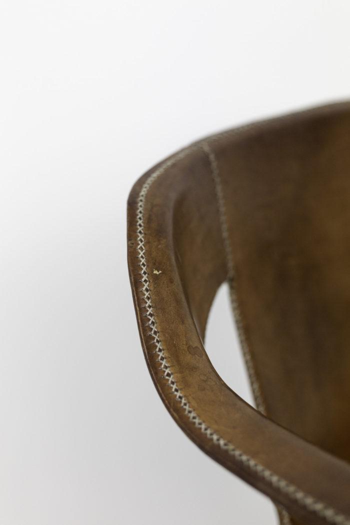 sol&luna fauteuil cuir marron accotoir