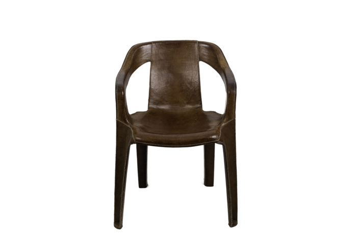 sol&luna armchair brown leather front