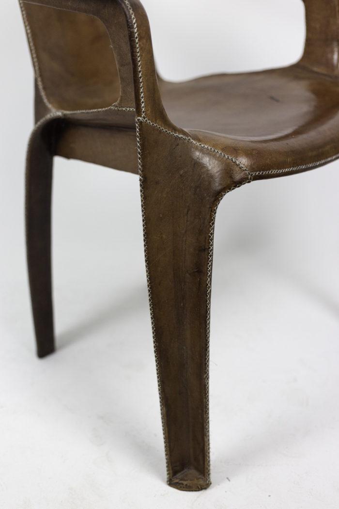 sol&luna fauteuil cuir marron pied