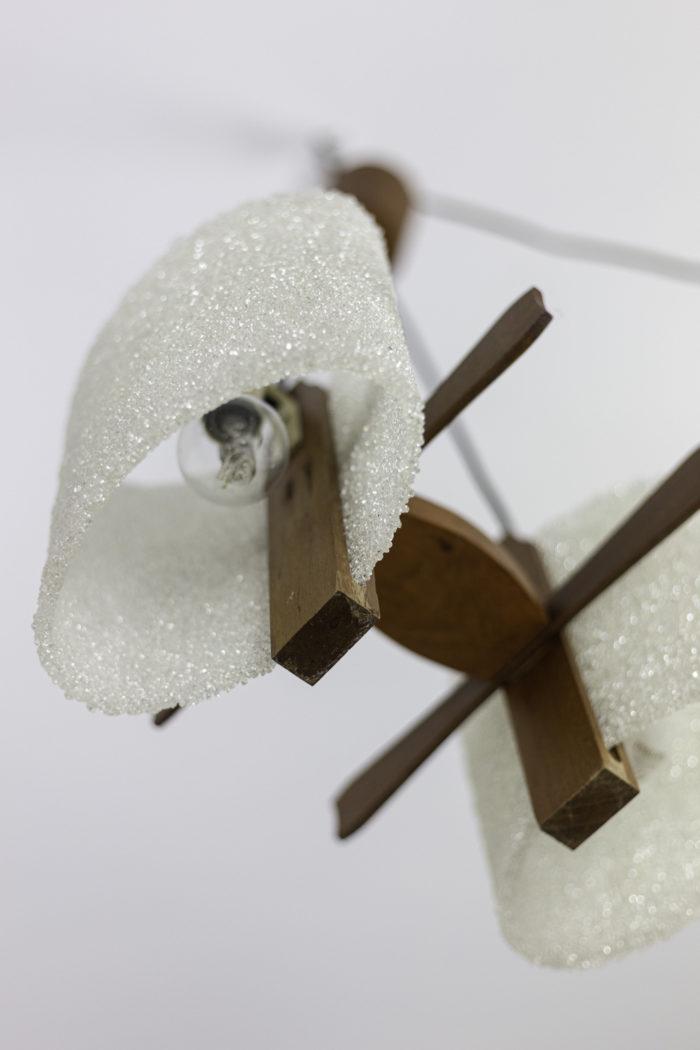 suspension résine granitée bois abat-jour