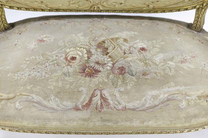 canapé style louis xvi bois doré tapisserie aubusson assise