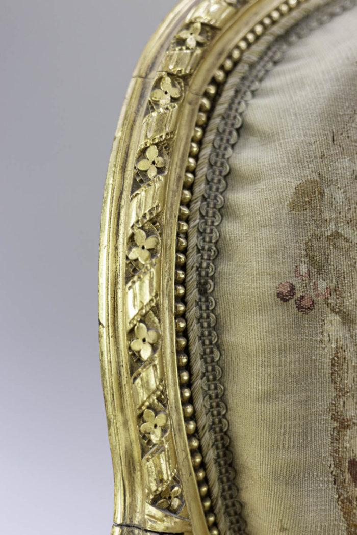 louis xvi style sofa gilt wood aubusson tapestry detail