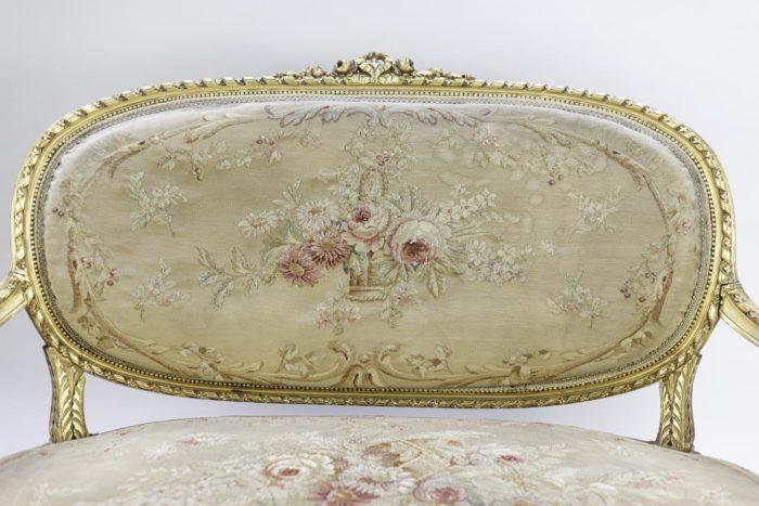 canapé style louis xvi bois doré tapisserie aubusson dossier