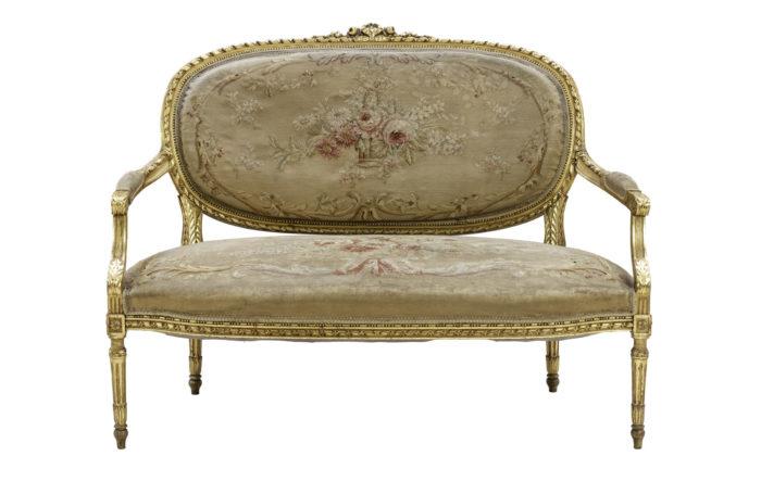 canapé style louis xvi bois doré tapisserie aubusson face