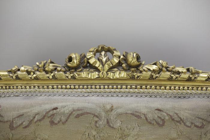 canapé style louis xvi bois doré tapisserie aubusson fleurs