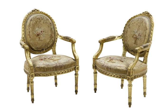 louis xvi style armchairs gilt wood aubusson tapestry